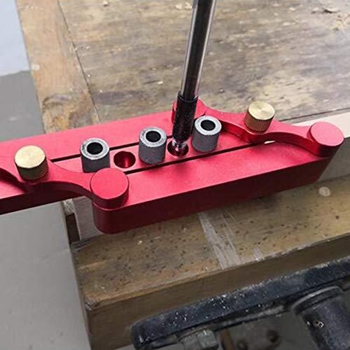 Selbstzentrierende Dübellehre Holzbearbeitungslochlehre Suchhilfe Lochsuchhilfe Bohrlochwerkzeuge DIY Zimmermannswerkzeuge - Rot
