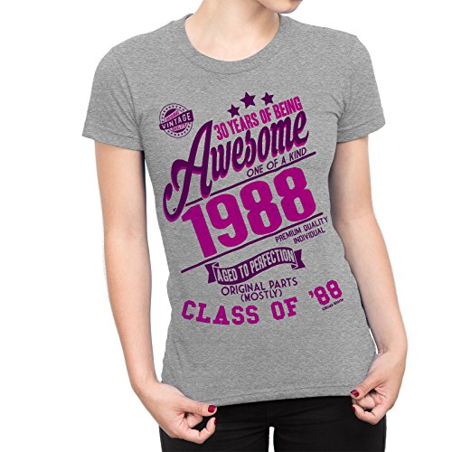 30 Years Of Being AWESOME Damen 30th T-Shirt Class of 1988 GEBURTSTAG Gift Aged to Perfection von Buzz Shirts® (Geburtstag T-shirts 30.)