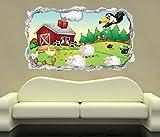 3D Wandtattoo Bauernhof Tiere Kinderzimmer Schaf Ente Wand Aufkleber Durchbruch Stein Wandbild Wandsticker 11N069, Wandbild Größe F:ca. 97cmx57cm