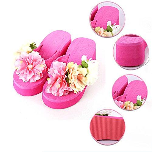 humefor Hohe Plattform Keil Blume Flip Flops Sommer Strand Sandalen für Frauen Mädchen rosig