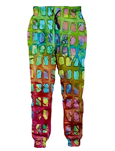 Leapparel Unisex Mehrfarbige Rasterhose Elastische Kordelzug Hip Hop Rock Sweatpants Hose XL (Elastischer Voll Kordelzug)