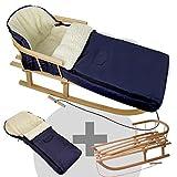 BambiniWelt24 BAMBINIWELT Kombi-Angebot Holz-Schlitten mit Rückenlehne & Zugseil + universaler Winterfußsack (108cm), auch geeignet für Babyschale, Kinderwagen, Buggy, aus Wolle Uni Marine