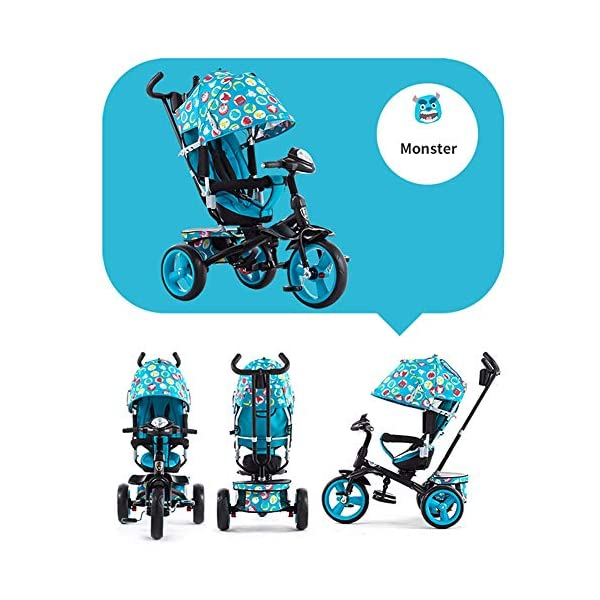 GSDZSY - 4 IN 1 Children Kids Tricycle With UV Protection Awning And Detachable Push Rod, Rotating Seat Baby Can Sit Or Half Lying, 1-6 Years Old GSDZSY ❀ MATERIAL : High carbon steel + ABS + rubber wheel, suitable for children from 1 month to 6 years old, maximum load 30 kg ❀ FEATURES : The push rod can be adjusted in height, the seat can be rotated 360, the backrest can be adjusted, the baby can sit or recline; the adjustable umbrella can be used for different weather conditions ❀ PERFORMANCE : high carbon steel frame, strong and strong bearing capacity; non-inflatable rubber wheel, suitable for all kinds of road conditions, good shock absorption, seat with breathable fabric, baby ride more comfortable 2