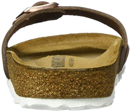 Birkenstock Damen Madrid Leder Pantoletten Braun (Metallic Copper)