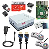 V-Kits Raspberry Pi 3 Model B+ (PLUS) Retro Arcade Gaming Kit with 2 Classic USB Gamepads (UK Power Edition)