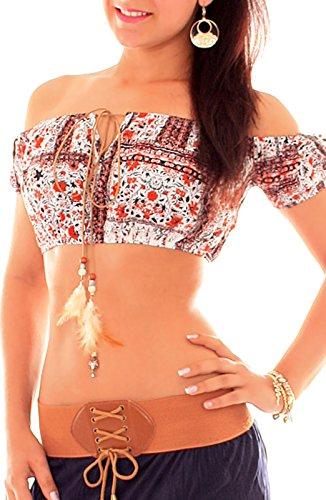 Damen Vintage Kurz Top Nabelfrei Bauchfrei Shirt Spitzentop Rot
