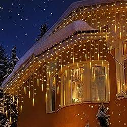 Uping Guirlande Lumineuse Extérieur Rideau Lumière 400 led avec 48 Stalactites Etoilées, Decoration Noël Mariage Jardin Maison Fenêtre Patio Blanche Chaude