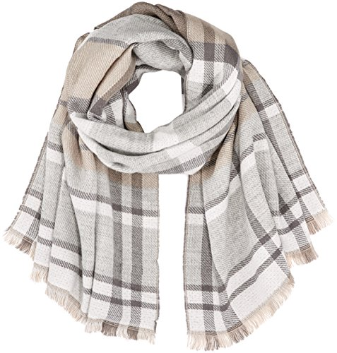 TOM TAILOR Damen lovely check scarf Schal, Cashew Beige 8229, One Size -