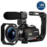 4K Camcorder ORDRO 4K Ultra HD WiFi Videokamera 12x Optischer Zoom 3,1 Zoll IPS Touchscreen 1080P 60FPS Camcorder Video Camera mit Mikrofon und Weitwinkelobjektiv