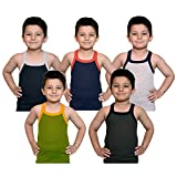 #8: Kids Basket Boys Pure Cotton Multicolor RIB Vest Pack Comfort Innerwear Pack Of 5