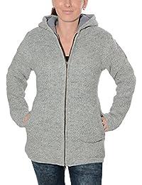 9ad170a7d304 Klassische Damen Strickjacke Wolle Jacke mit Fleecefutter und Kapuze von  Kunst und Magie