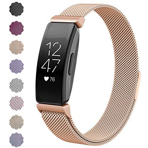 """KIMILAR Armbänder Kompatibel mit Fitbit Inspire & Inspire HR Armband Metall, Ersatz-Armbänder Magnet Verstellbare Band für Fitbit Inpsire & Inspire HR Fitness-Tracker (6.1\"""" - 9.9\"""", Rosegold)"""