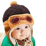 CHIC-CHIC Garçons Fille Bébé Hiver Chaud Cap Chapeau Bonnet Aviateur Pilote Crochet Earflap Chapeaux Déguisement (Café, 1-3 ans)