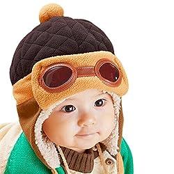 CHIC-CHIC Baby Jungen Fliegermütze Wintermütze Hut Beanie Winter mit Ohrenklappen Russisch Klappen Pilot Cap (Kaffee)