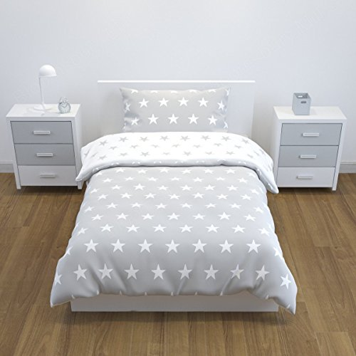Bloomsbury Mill - Grey & White Stars - Reversible Bedding Set - Junior / Toddler / Cot Bed Duvet Cover & Pillowcase