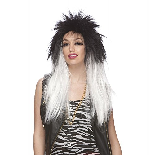 Characters Extra Long Rocker Synthetic Wig - Black And White