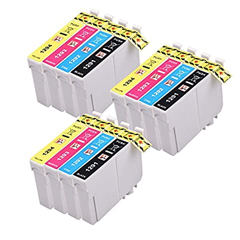 12 (3 jeux de 4) Cartouches d'encre haute compatibles pour Epson Stylus SX230 SX235W SX420W SX425W SX435W SX440 SX445W SX525WD SX535WD SX620FW et Epson Stylus Office B42WD BX305F BX305FW BX305FW plus BX320FW BX525WD BX535WD BX625FWD BX635FWD BX925FWD Imprimantes