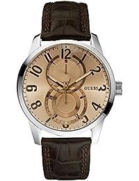 Guess Mens Fashion W95127G2 - Reloj analógico de cuarzo para hombre, correa de cuero color marrón