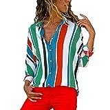 MYMYG Damen Blusen Streifen v Ausschnitt Hemd Oberteile Langarmshirts Blusen Casual Sommer Langarm mit Knopf Tunika (J1-Mehrfarbig,EU:50/CN-M