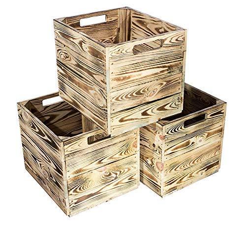 Kontorei® geflammte/gebrannte Holzkiste für Kallax Regal von IKEA 33cm 37,5cm 32,5cm 6er Set Obstkiste Kiste Box