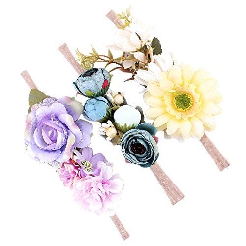 Homyl 3er Set Mädchen Baby Haarband Stirnbänder Blumen Haarschmuck Fotoshooting Kostüm - Stil 2, wie beschreiben