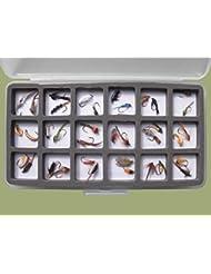 36Nymphe truite Pêche mouches, magnétique Slimline en boîte, tailles mélangées