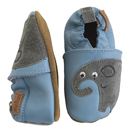 Melton Baby Jungen Krabbelschuh Elefant aus Weichem Leder, Mehrfarbig (Pastel Blue), 22/23 EU