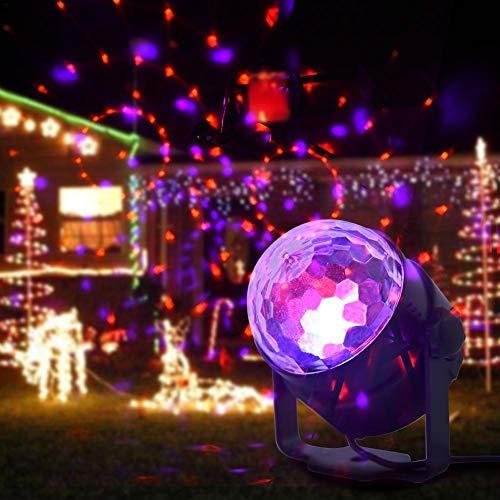 Bühnenlicht 5W 110-240V Bühnenlicht Nachtlicht Mini-Spot-Projektor RGB/GVB-LED für KTV, Bar, Disco DJ, 15 Farben Atmosphärenlicht-Kristallkugel-Birne mit Sound Control-Schwarz