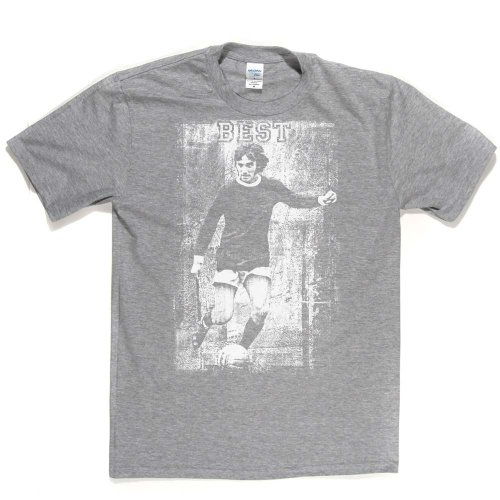 George Best Action Football Footy Soccer T-shirt Aschgrau