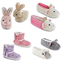 Kids Girls Slippers Boots Bootie Plush Animal Novelty Cute Cosy Warm Fluffy Gift