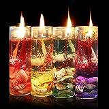 Candela di vetro,Bloomma 8PCS Bottiglie di vetro romantiche senza fumo Gel di gelatina di San Valentino Regalo candele di San Valentino per la festa di compleanno Decor di compleanno(colore casuale)
