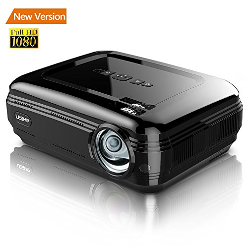 3200 lumen Full HD 1080p beamer projector, leshp LED + LCD thuisbioscoop videoprojector 1280 × 1920 Max resolutie contrast 3000: 1, Support 1080p/USB/VGA/SD/HDMI voor Xbox/iPhone/smartphone/PC