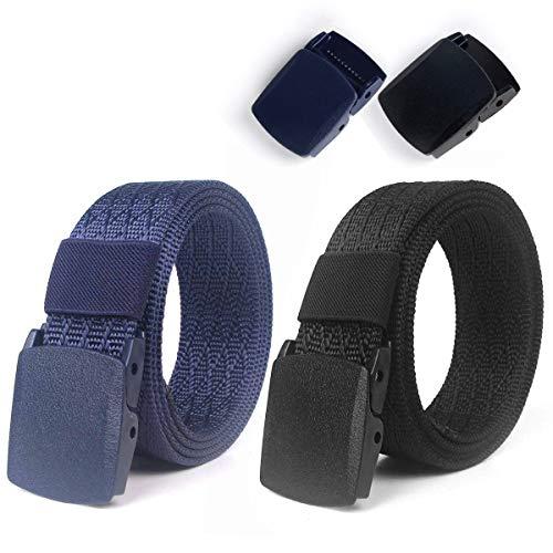 Lalafancy 2 Pack Cinturones de Nylon Militares Tácticos Militares Cinturón de Cintura Transpirable Cinturón Web Cinturón de Cintura Al Aire Libre Sin Hebilla de Metal (Negro + Azul)