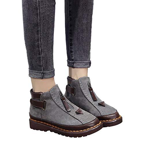 ❤️British Viento Chelsea Botas, Empalme Color Moda Invierno Mujeres Color de Suela Gruesa Brock Plana Martin Boot Invierno Absolute