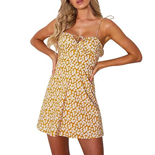 Jiameng abiti lunghi scollo rotondo donna camicia vestito vestitini abito manica corta s-xxl (giallo,s)