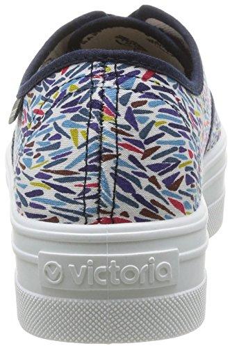 Victoria Ingles Estampado Liberty, Boots compensées femme Multicolore (Marino)