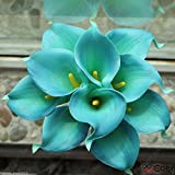 10pcs Teal Blue Calla Lily Bouquet Real Touch Callas Flowers Wedding Flower for Bridal Bouquets