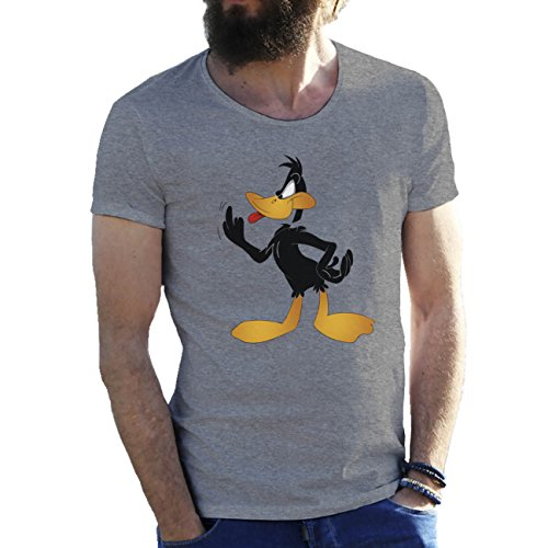 Daffy Duck Fuck Finger Looney Tunes Merrie Melodies Bugs Bunny Gris Camiseta para hombre Large