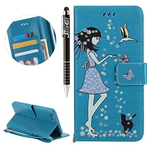 Custodia iPhone 6 Plus, iPhone 6S Plus Flip Case Leather, SainCat Custodia in Pelle Cover per iPhone 6/6S Plus, Bling Glitter Anti-Scratch Book Style Protettiva Caso PU Leather Flip Portafoglio Custod Blu