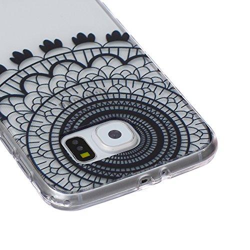 Ekakashop Coque pour Samsung Galaxy S6 SM-G920F, Ultra Slim-Fit Flexible Souple Housse Etui Back Case Cas en Silicone pour Galaxy S6, Soft Cristal Clair TPU Gel imprimée Couverture Bumper de Protectio Dream Catcher Noir