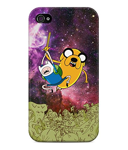 Adventure Time Jake The Dog Finn The Human Space Attack Trippy Acid Cosmic Galaxy Hard Plastic Snap On Back Case Cover For iPhone 4 / 4s Custodia