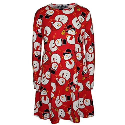 Kinder Mädchen Weihnachtskleid Santa Schneemann Pinguin Aufdruck Weihnachten Kleider Leggings New 122 128 134 140 11 12 13 Jahre - Kleid Schneemann Rot, Mädchen, 13 Years