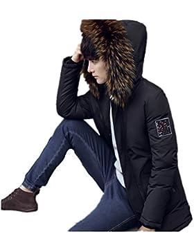 MHGAO Abajo cubren la manera del invierno de los hombres ocasionales largos de la capa , black , xl