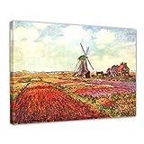 Wandbild Claude Monet Tulpen von Holland - 80x60cm quer - Alte Meister Berühmte Gemälde Leinwandbild Kunstdruck Bild auf Leinwand