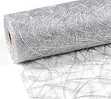 Unbekannt 25 m x 20 cm Sizoweb® Vlies Original Tischband Tischläufer Silber grau für Hochzeit, Weihnachten