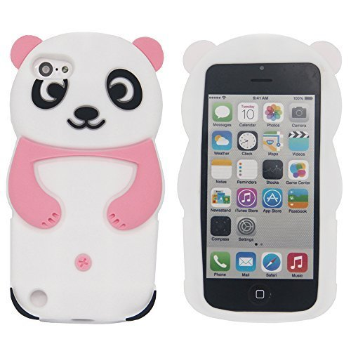 iPod Touch 5 Fall, iPod Touch 6 Fall - Tsmine Niedlicher Cartoon 3D Panda Soft Silikon zurück waschbar Cover Shockproof Schutzhülle für Apple iPod touch 5. 6. Generation, - Fall Ipod Panda