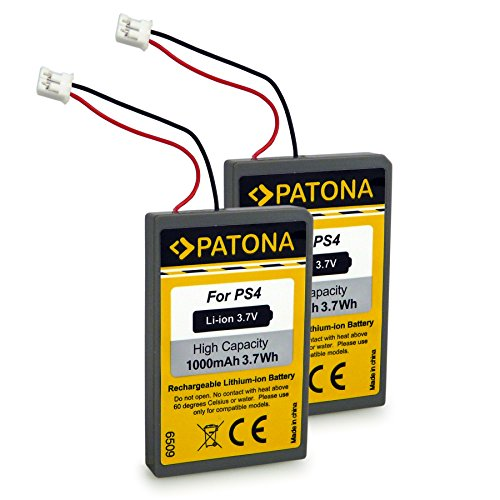 Patona® 2X LIP1522 Batterie pour PS4 Dualshock 4 Contrôleur Manette Version 1-3, Playstation 4 Accu Li-ION 3,7V 1000mAh