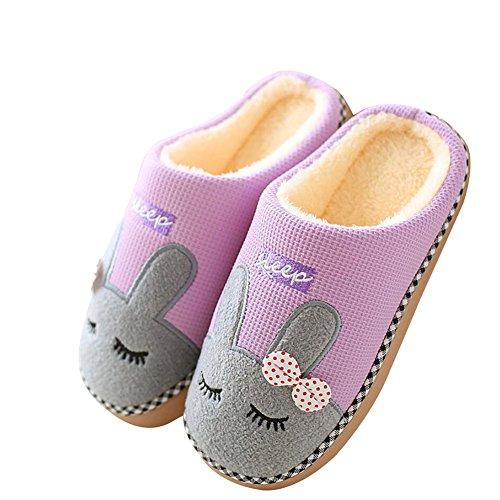 TAIYCYXGAN Herren Damen Winter Warm Hausschuhe Pantoffeln Herren Damen Cartoon Kuschelige Slippers Winter Plüsch Hausschuhe Anti-Rutsch Indoor Schuhe Lila