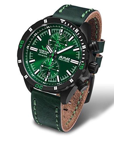 Vostok Europe Almaz Chrono Men's Watch Green with Leather Strap 6S11/320C261