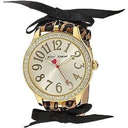 Betsey Johnson Women's Quartz Metal and Polyurethane Casual Watch, Color:Brown (Model: BJ00131-78)